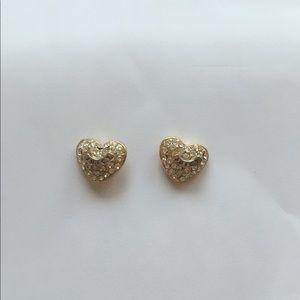 Gold plate heart earrings